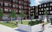 courtyard with residents playing corn hole, walking and biking by